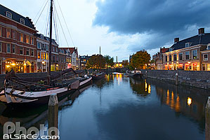 Photo : Delfshaven la nuit, Rotterdam, Zuid-Holland, Pays-Bas