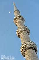 Minaret de la Mosquée bleue (mosquée du sultan Ahmet ou mosquée Sultanahmet), Fatih, Istanbul, Turquie, Marmara Bölgesi, Turquie