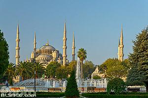 Parc Sultan Ahmet et Mosquée bleue (mosquée du sultan Ahmet ou mosquée Sultanahmet), Fatih, Istanbul, Turquie