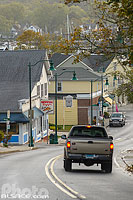 Photo : Main Street et Mystic Pizza, Mystic, Stonington, Connecticut, Etats-Unis