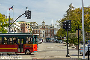 Photo : Newport Trolley, Washington Square, Newport, Rhode Island, Etats-Unis