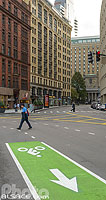 Piste cyclable sur Court Street, Boston, Massachusetts, Etats-Unis
