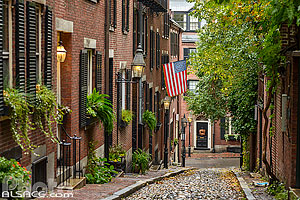 Photo : Acorn Street dans le quartier de Beacon Hill, Boston, Massachusetts, Etats-Unis, Massachusetts, Etats-Unis