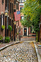 Photo : Acorn Street dans le quartier de Beacon Hill, Boston, Massachusetts, Etats-Unis
