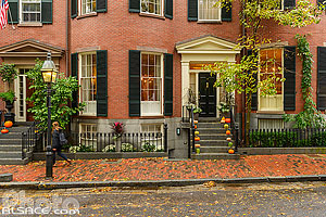 Photo : Décoration d'Halloween dans le quartier de Beacon Hill, Boston, Massachusetts, Etats-Unis