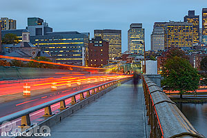 Longfellow Bridge et Boston la nuit, Boston, Massachusetts, Etats-Unis