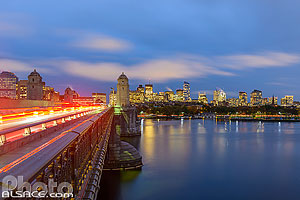 Longfellow Bridge, Charles River et Boston la nuit, Boston, Massachusetts, Etats-Unis