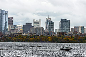 Charles River et Boston en automne, Massachusetts, Etats-Unis