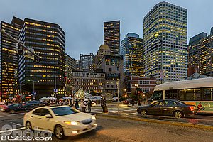 Photo : Centre-ville de Boston la nuit, Boston, Massachusetts, Etats-Unis