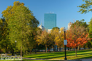 Boston Common en automne et 200 Clarendon Street tower, Boston, Massachusetts, Etats-Unis