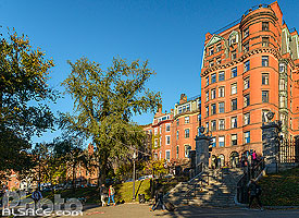 Boston Common et immeuble de Beacon Street, Boston, Massachusetts, Etats-Unis