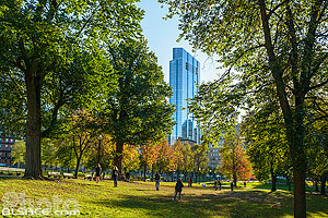 Photo : Boston Common en automne et la Millennium Tower, Boston, Massachusetts, Etats-Unis