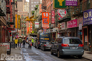 Photo : Pell Street dans le quartier chinois de Chinatown, Manhattan, New York, Etats-Unis