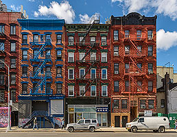 Photo : Façades d'immeubles New Yorkais, Essex Street, Manhattan, New York, Etats-Unis, New York, Etats-Unis