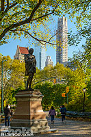 Photo : Statue de William Shakespeare, Central Park, Manhattan, New York, Etats-Unis
