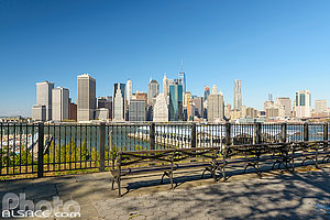 Photo : Brooklyn Heights Promenade et vue sur Manhattan, Brooklyn, New York, Etats-Unis