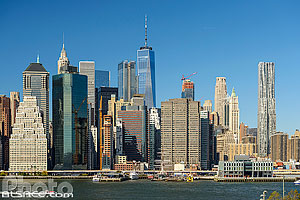 Photo : Financial District et Lower Manhattan vue depuis Brooklyn Heights Promenade, Brooklyn, New York, Etats-Unis, New York, Etats-Unis