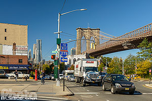 Old Fulton Street et Brooklyn Bridge, Brooklyn Heights, Brooklyn, New York, Etats-Unis