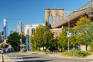 Old Fulton Street et Brooklyn Bridge et vue sur One World Trade Center, Brooklyn Heights, Brooklyn, New York, Etats-Unis