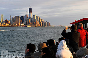 Photo : Touristes sur un bateau, Hudson River, Manhattan, New York, Etats-Unis