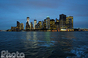 Photo : Lower Manhattan la nuit, Manhattan, New York, Etats-Unis
