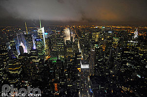 Photo : Manhattan Nord de nuit depuis l'Empire State Building, New York, Etats-Unis