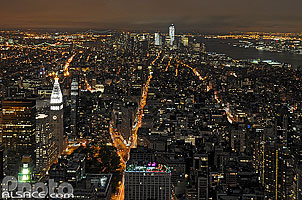 Photo : Manhattan Sud de nuit depuis l'Empire State Building, New York, Etats-Unis