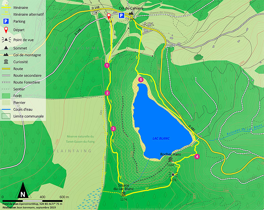 Map of the hike around Lac Blanc and  Rocher Hans