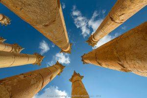 Les colonnes corinthiennes du temple d'Artémis, Jerash, Jordanie, Novembre 2019