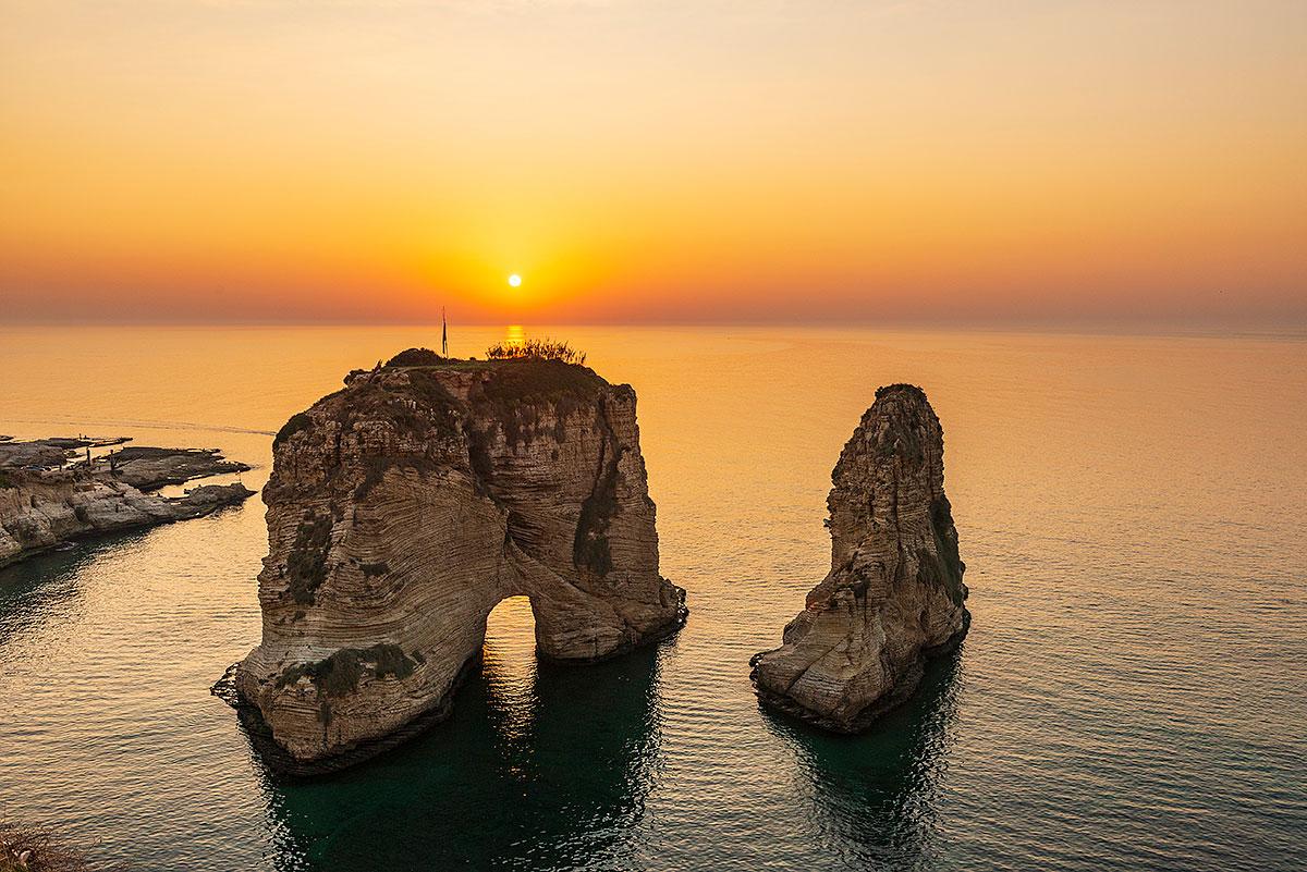 Raouché au coucher de soleil, Beyrouth