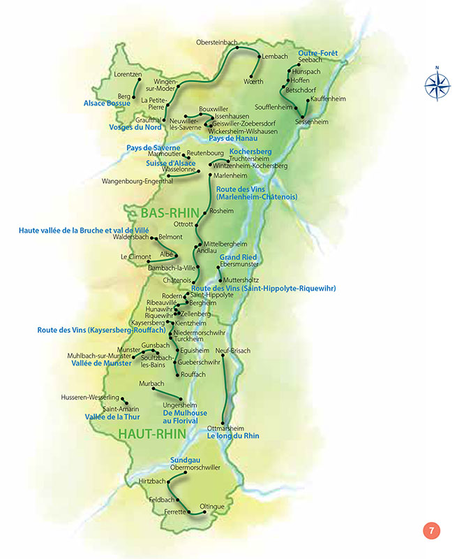 Map of 17 itineraries and 68 villages of the book Beautiful villages and cities of charm Alsace