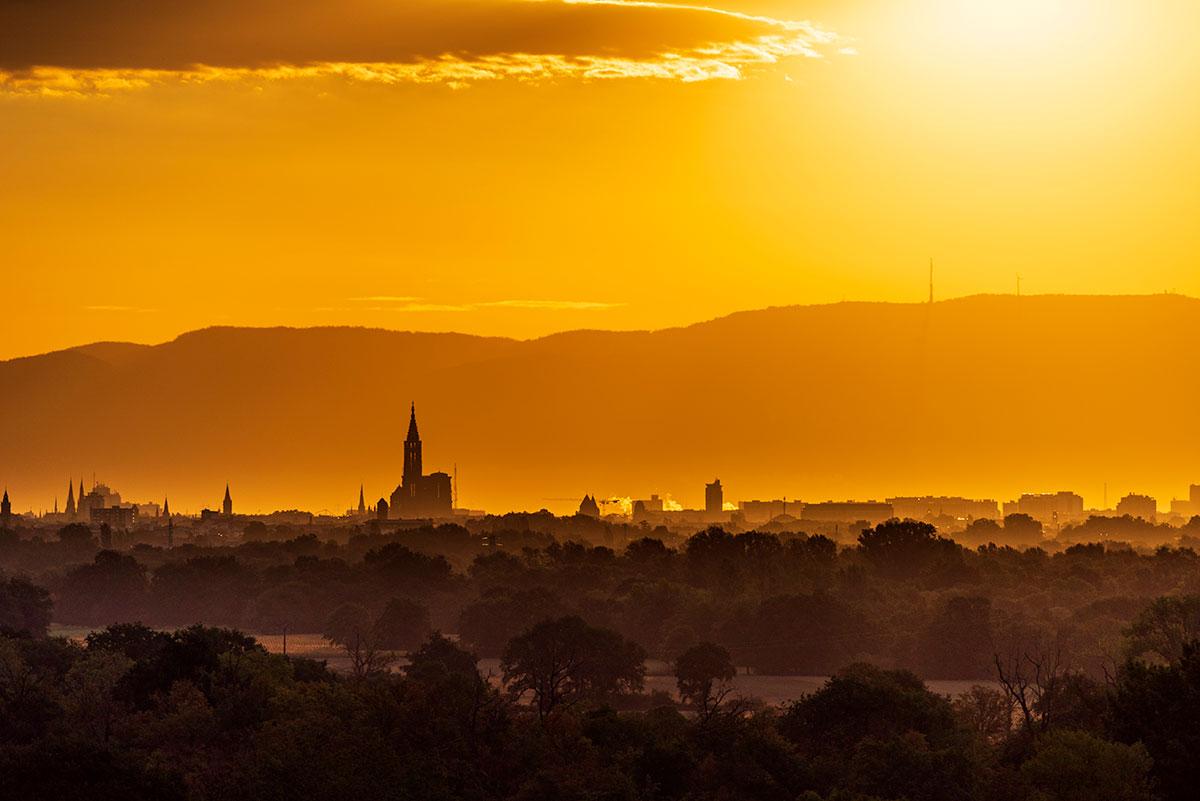 Lever de soleil au-dessus de la Forêt-Noire et la Cathédrale d