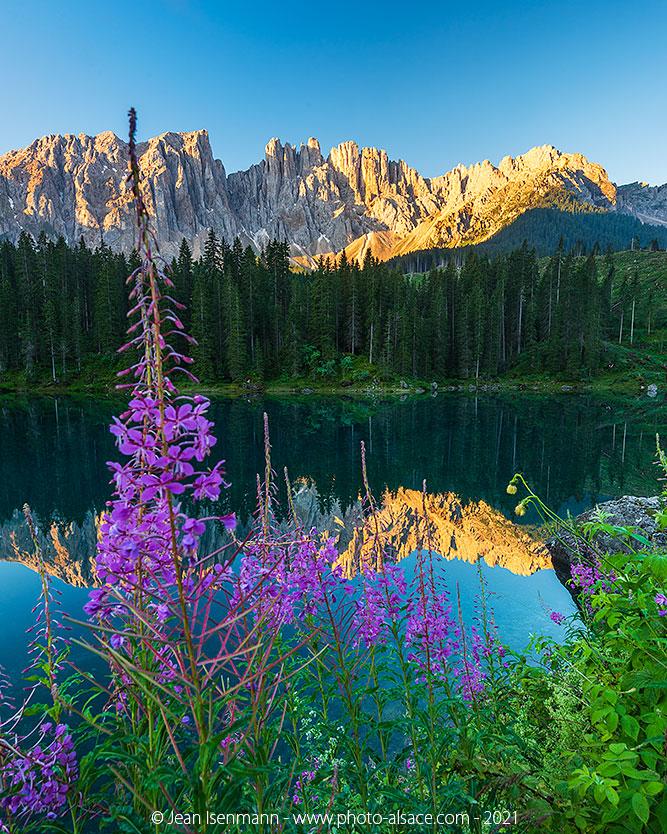 Le lac de Carezza et le Latemar au lever de soleil.