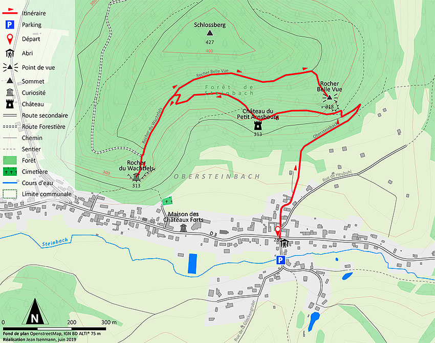 Map of the hiking to Wachtfels and Belle Vue rocks departure from Obersteinbach village - Map : Jean Isenmann, 2019